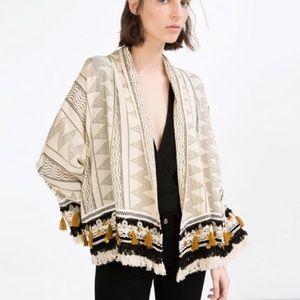 Zara Coin Fringe Boho Folk Kimono